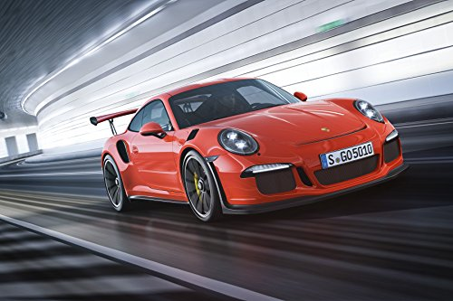 Porsche 911 (991) GT3 RS (2015) Car Art Poster Print on 10 mil Archival Satin Paper Red Front Side Motion View 36