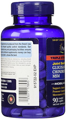 025077178957 - Puritan's Pride Triple Strength Glucosamine, Chondroitin & MSM Joint Soother, 90 Coated Caplets carousel main 5