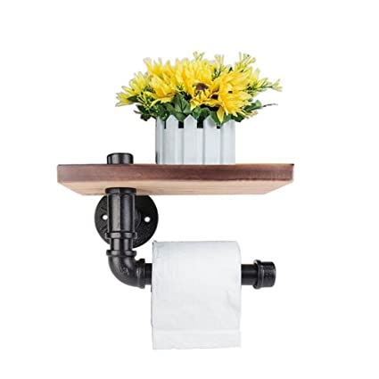 Industrial Toilet Paper Holder With Wooden Shelf Metal Wall Storage Iron  Pipe Missingift Tissue Roll Hanger