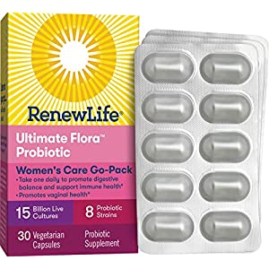 Renew Life Women's Probiotic - Ultimate Flora Women's Care Go-Pack Probiotic Supplement - Gluten, Dairy & Soy Free - 15 Billion CFU - 30 Vegetarian Capsules
