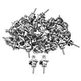 Yibuy Chrome Metal Round Head Guitar Strap Lock Pins Set of 40