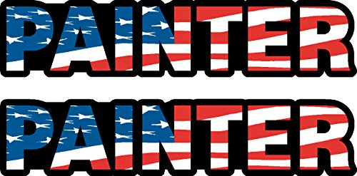 Painter,(2-pack) US Flag, I Make Decals®, Patriot, patriotic, Hard Hat, vinyl, decal, - Painters Usa