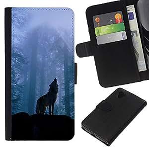 KLONGSHOP // Tirón de la caja Cartera de cuero con ranuras para tarjetas - Naturaleza Lobo - LG Nexus 5 D820 D821 //