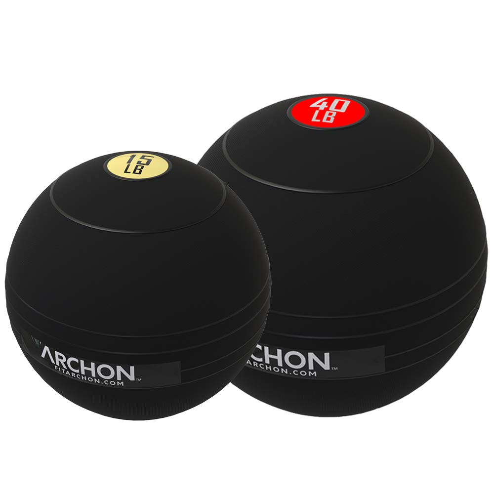 ARCHON Training 15 LB and 40 LB Pound Slam Ball Set | Crossfit Workout | No Bounce Exercise Ball | Gym Equipment Accessories | Plyometric Exercise | Cardio | Jam Ball | Squats | Medicine Ball