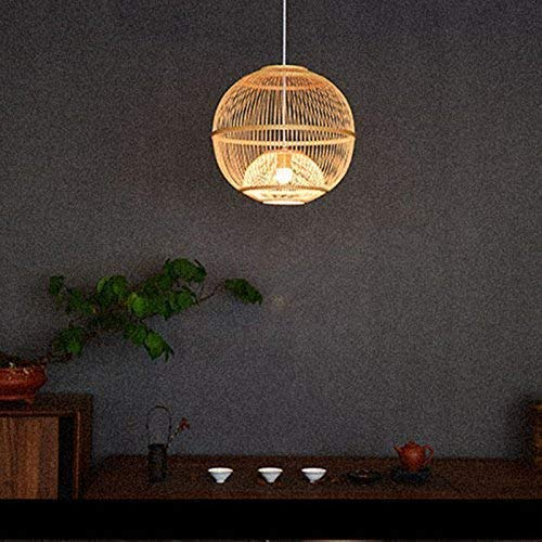 Arturesthome Traditional Japanese Bamboo Pendant, Artistic Southeastern Suspension Luminaire, Bamboo Hanging Light Fixture for Living Room