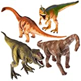 "Prextex 13"" Realistic Looking Dinosaurs Pack of 4 Jumbo Plastic Assorted Dinosaur Figures"