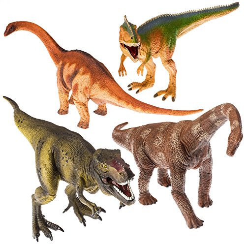 "Prextex 13"" Realistic Looking Dinosaurs Pack of 4 Jumbo Plastic Assorted Dinosaur Figures by Prextex"