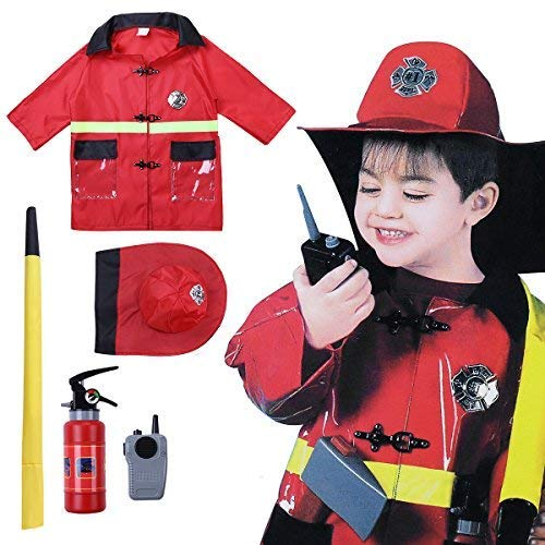 MSemis Kids Boys Halloween Cosplay Costume Policeman/Fireman/Doctor Coat Set with Accessories Outfits Red One_Size ()