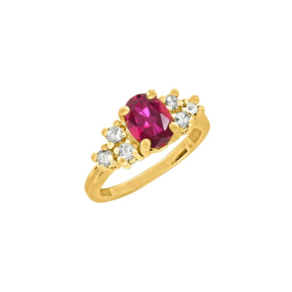 2.10 CT 8x6mm Oval Red Mystic Topaz Yellow Gold Ring Jewelry