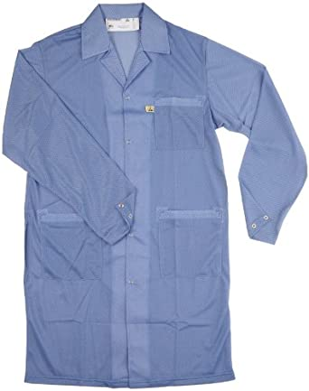 "Desco 73606 Polyester Smock Statshield Labcoat with Snaps, 41"" Length, 3X-Large, Blue"