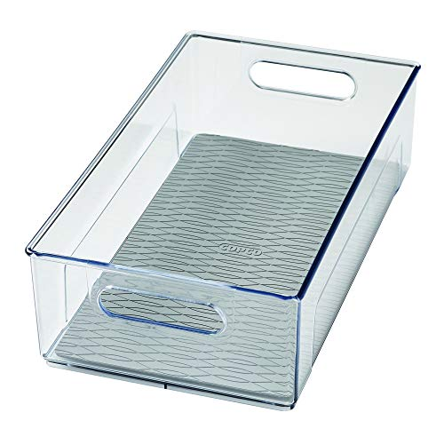 """Freezer Built In Handle Refrigerator - Copco 5224370 Kitchen Storage Organizer Deep Bin with Built-In Handles, for Pantries, Cabinets, Shelves, Refrigerator, Freezer - BPA Free, Food Safe 14.8"""" x 8.2"""" x 4.2"""" Clear"""