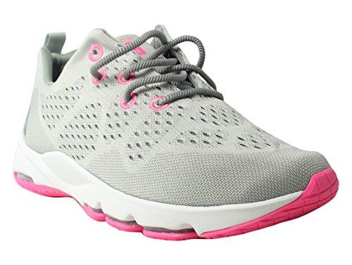 Reebok Women's Cloudride LS DMX Track Shoe, Skull Grey/Flat Grey/White/Poison Pink, 8.5 M US