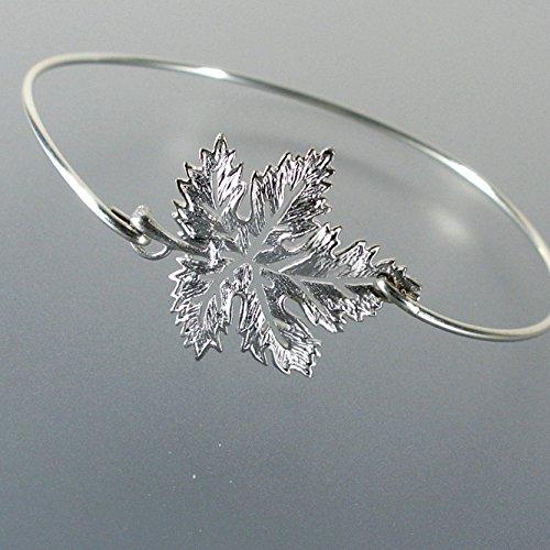(Maple Leaf Bangle Bracelet - ss Size Medium )