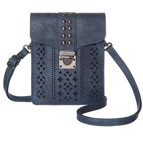 MINICAT Women RFID Blocking Small Crossbody Bags Cell Phone Purse Wallet With Credit Card Slots (Dark Blue)