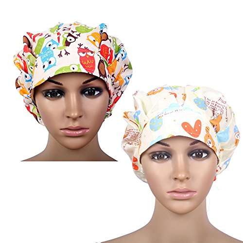 Doctor Scrub Cap Adjustable Bouffant Flower Print Hat for Women Ponytail Set of 2(Print 1+Print 3)
