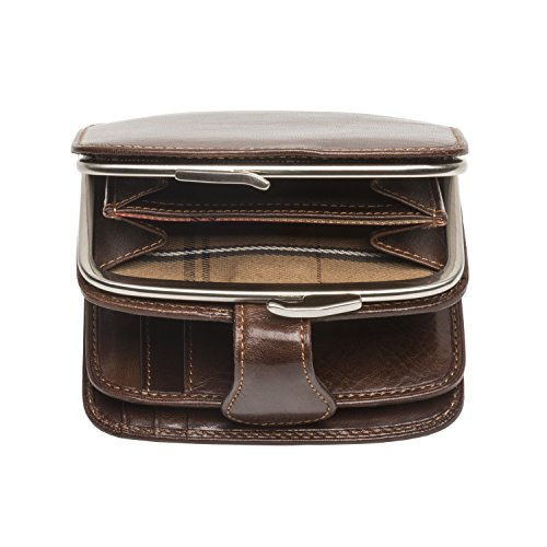 Perotti and Italian Card Wallet Id Leather Coin Brown Purse Tony Window Credit dXx74wc