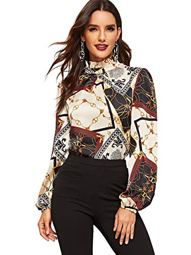 Romwe Women's Elegant Printed Stand Collar Workwear Blouse Top Shirts Chain Print X-Small