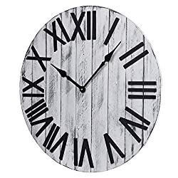23-Inch Oversized White Rustic Wood Farmhouse Silent Non-Ticking Battery Operated Large Decorative Wall Clock with 3D Black Roman Numerals for Home Decor