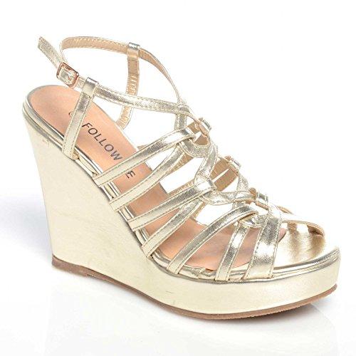 Damen-High Heels mit Knöchelriemchen und Blockabsatz, Schuhgrößen: 35,5 - 42 Gold Pu