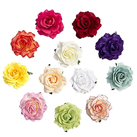 CellElection Cute Two Methods of Use 3D Simulation Real Fabric Girls' Rose Flower Hair Clips With Pin Set of 12 (Assorted Broaches)