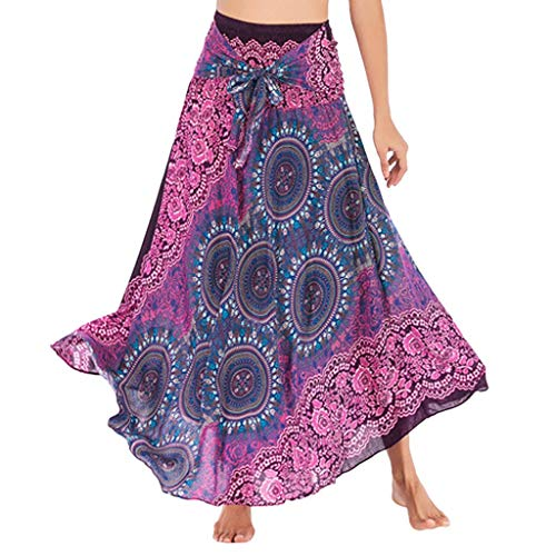 (ZSBAYU Women's Sexy Vintage Long Boho Large Sarong Dress, Cover Up Wrap Beachwear Elastic Waist Floral Halter Skirt(Hot Pink 2,M))