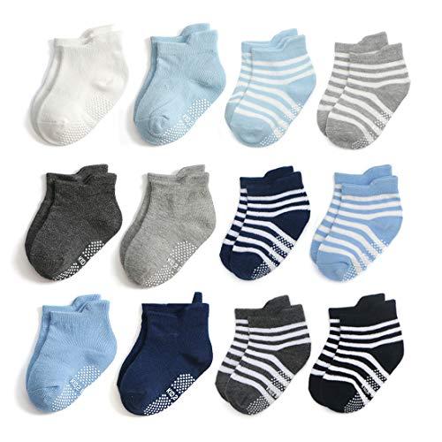 Epeius Unisex-Baby Non-Skid Socks Little Boys Girls Grip Solid Color/Striped Ankle Socks Kids Non Slip/Anti Skid Tab Socks for 12 Pair Value Pack,Black/White/Dark Grey/Gray/Blue,4-6 Years -