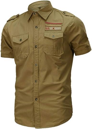 Sencillo Vida Camisa Hombre de Manga Corta Militar Camisa Casual Hombres Camisas de Hombre Impresión Hawaiana Verano Regular Fit Camisetas Casuales Clásico Básico Botones para Hombre: Amazon.es: Ropa y accesorios