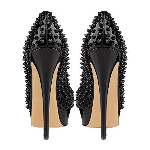 EKS - Zapatos con tacón Mujer Schwarz-Lackleder