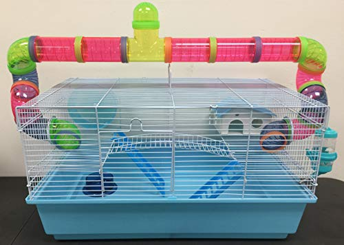 New Large 23' Habitat Hamster Rodent Gerbil Mouse Mice Rat Wire Cage Long Crossing Tube & Deep Tray (Blue)