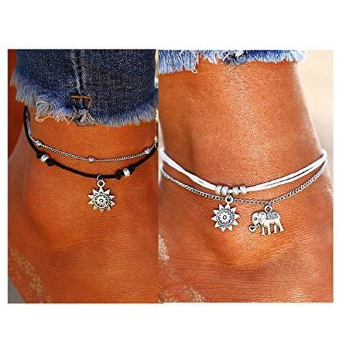 ATIMIGO 2PCS Boho Beach Layered Rope Anklet Bracelet Sunflower Elehant Charm Handmade Foot Jewelry for Women Teen Girls