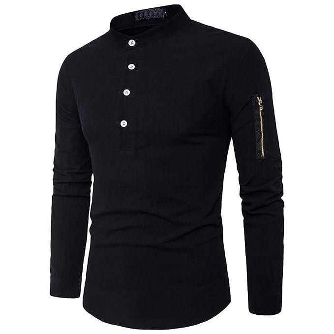 FRAUIT Hemd Herren Männer Shirt Stehkragen Slim Fit Baumwolle Langarm  Männer Hemden T-Shirt Business Freizeit Party Reisen Tanzparty Stretch Warm  ... 6cd4a4e968