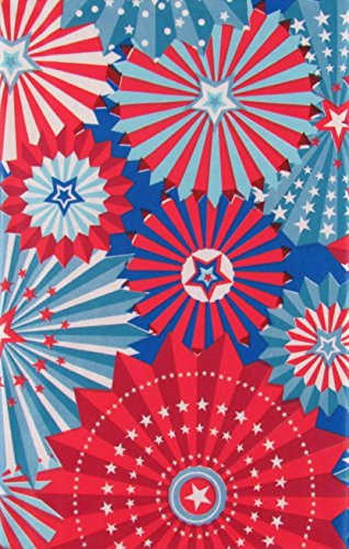 Patriotic Red, White and Blue Starbursts Vinyl Flannel Back Tablecloth (60