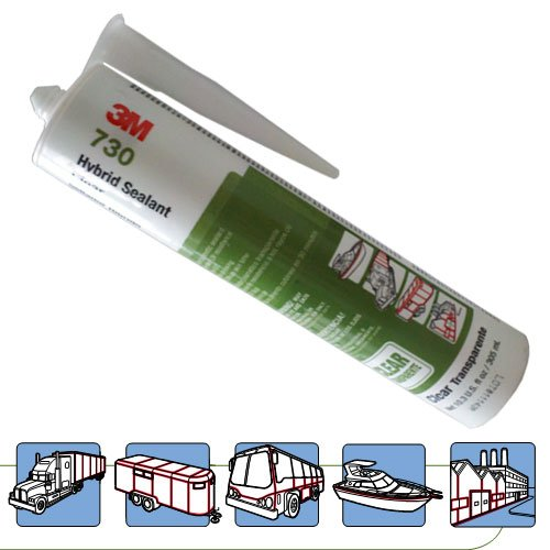 3M 730 Hybrid Sealant, -40 to 194 Degree F, 10.3 fl oz Cartridge, Clear by 3M