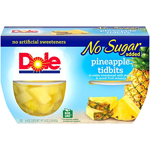 Dole Fruit Bowls, Pineapple Tidbits in Water, 4oz, 4 cups