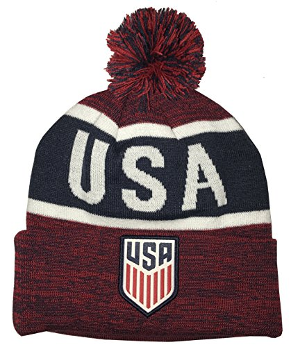 2ab3f68567c835 Icon Sports United States USA Soccer Pom Foldover Beanie (One Size,  Heathered Red/