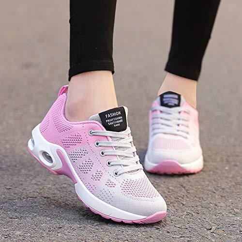 Mesh tamaño para Transpirable Mujeres 40 Zapatillas EU de Negro Deporte Plataforma Mesh Color Qiusa Rosado aAFqnRw