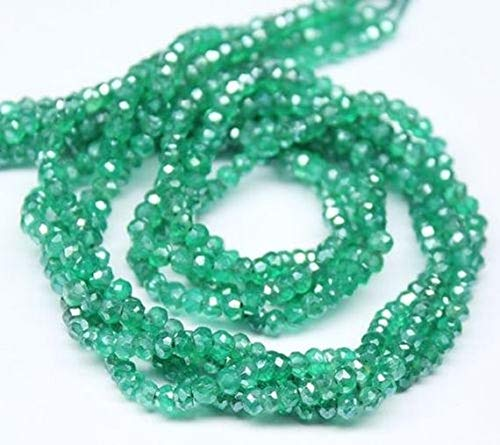 Beads Bazar Natural Beautiful jewellery Natural Mystic Green Onyx Micro Faceted Rondelle Micro Gemstone Craft Loose Beads Strand 13