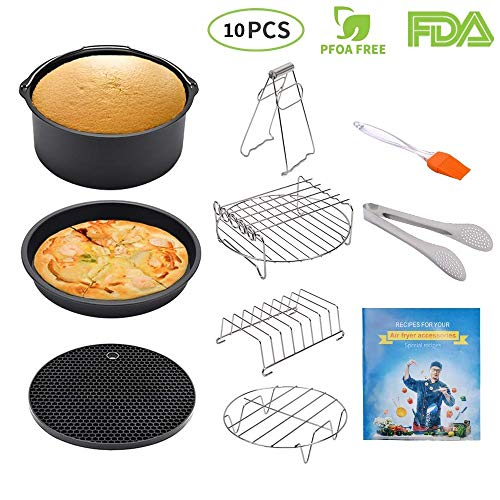 (BESEGO 8 Inch Air Fryer Accessories Set, Fit all 4.2QT-5.8QT Fryers and UP, 10Pcs (+ recipe book), Air Fryer Cooking Accessory (Cake Barrel & Pizza Pan and More) for Gowise & Phillips & Cozyna)