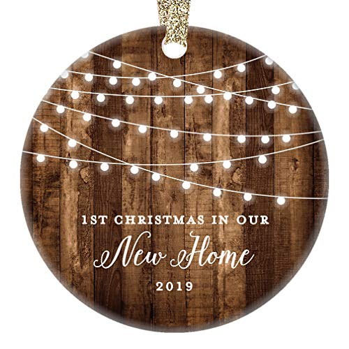 New Home 2019 Ornament Housewarming 1st Christmas In Our New House Rustic Farmhouse Ceramic Collectible Homeowner Present Real Estate Agent 3