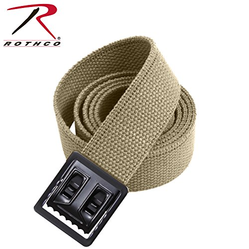 Rothco Plus Web Belts with Black Open Face Buckle, Khaki, 54''