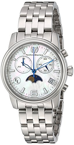 Technomarine Women's Eva Longoria Quartz Watch with Stainless-Steel Strap, Silver, 18 (Model: TM-416015)
