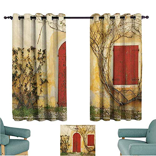 DONEECKL Room Darkening Wide Curtains Shutters Doorway with Blinded Door and Window to The Rural Tuscan House Italy Europe Blackout Draperies for Bedroom Window W63 xL45 Beige Yellow Red