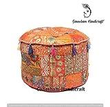 GANESHAM Indian Home Decor Hippie Patchwork Bean Bag Boho Bohemian Hand Embroidered Ethnic Handmade Pouf Ottoman Vintage Cotton Floor Pillow & Cushion (22 inchDia.)