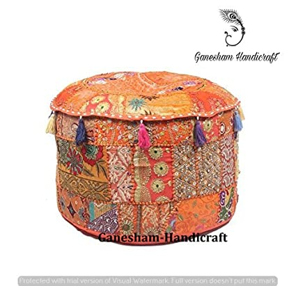 Indian Embroidered Patchwork Ottoman Cover,Indian Decorative Pouf Ottoman,Indian Comfortable Floor Cotton Cushion Ottoman Pouf,Indian Home Decorative Handmade Vintage Pouf Ottoman Cover Only GANESHAM