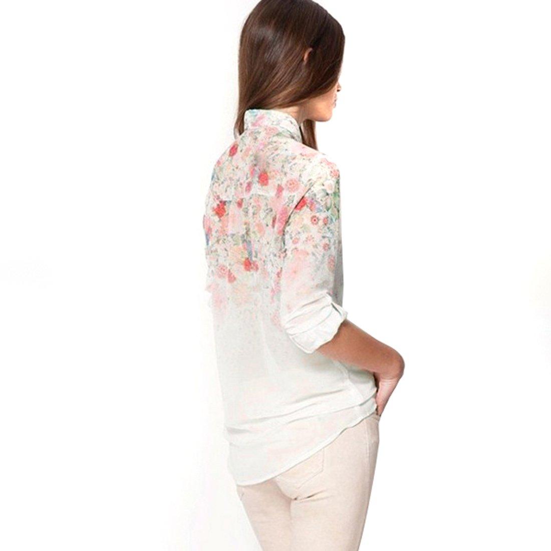 NEW cuello de solapa de chifón de blusas para mujer Diseño de flores de diseño de flores camiseta de manga larga Tops 18 Sz (XXL): Amazon.es: Ropa y ...
