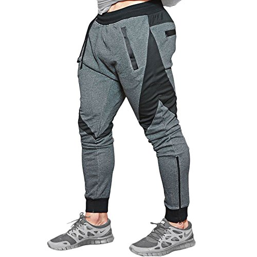 Mech-Eng Men's Joggers Pants Gym Workout Running Trousers With Pockets(Dark Grey S/Tag L)