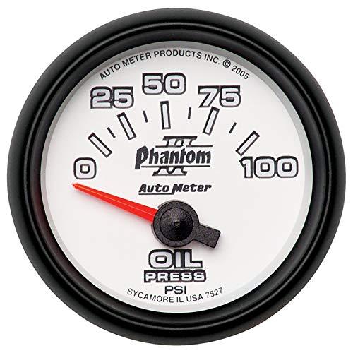 Phantom Electric Oil Pressure Gauge - Autometer Phantom II 52mm Short Sweep Electronic 0-100psi Oil Pressure Gauge (am7527)
