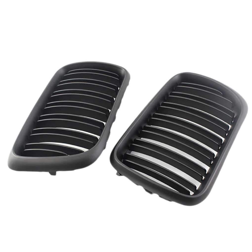 1 Pair 51138195152/51138195151 Matte Black M-Color Double Line Car Grilles Replaement for BMW E36 97-99