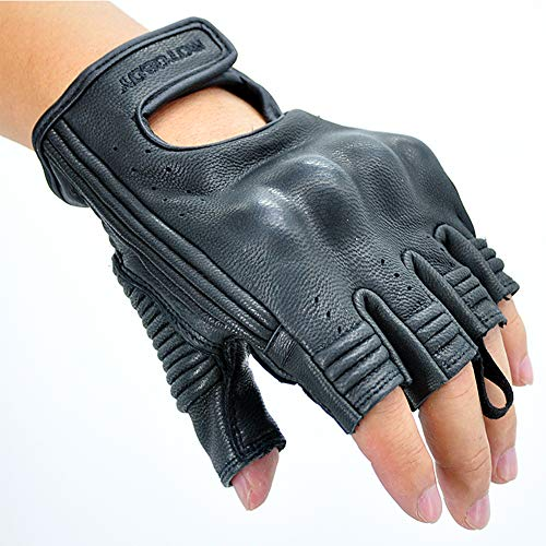 Summer Leather Motorcycle Gloves,Half Finger Breathable Anti-Sliding Riding Gloves for Men/Women from MOTO-BOY (XL, black)
