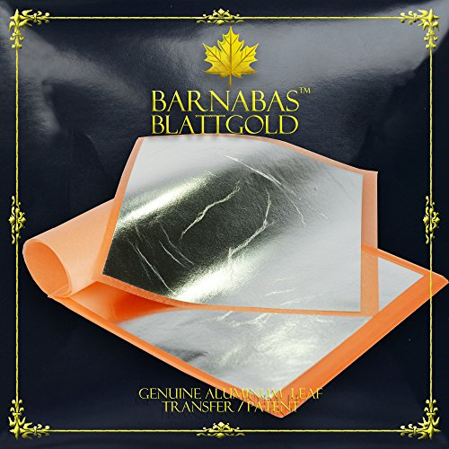 Imitation Silver Leaf Sheets - by Barnabas Blattgold - Made from Aluminum - 25 Sheets - 5.5 inches Booklet - Transfer Patent Leaf
